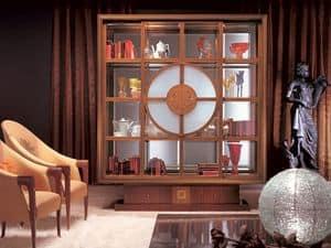 VL12 Il Quadro Vitrine, Bibliothek Vitrine, Innenbeleuchtung, im klassischen Stil