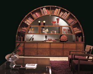 VL13 Arco Vitrine, Bibliothek Vitrine, klassisch, Intarsien, bogenförmige