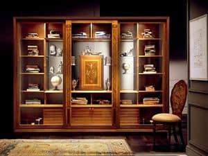 VL661 Le Cornici Vitrine, Showcase Bücherschrank mit Einlegearbeiten, Möbel im klassischen Stil