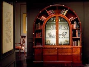 VL671 Arco due Schrank, Gewölbte Bibliothek in Intarsien aus Rosenholz, Innenbeleuchtung