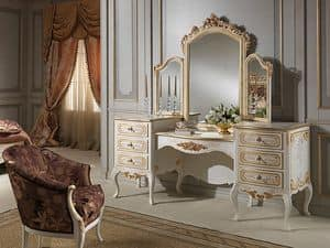 Art. 941 dressing table, Wc mit Spiegel, klassischen Stil, Holz Elfenbein-Finish