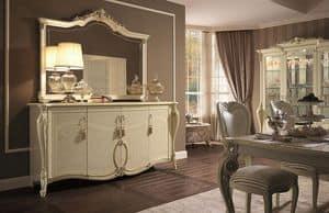 Tiziano buffet, Schrank 4 Türen, Blattgold Oberflächen, um in der klassischen Art zu bleiben