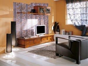 Art.107 / L, Schrank mit Schubladen und Kleiderbügel für Wohnräume