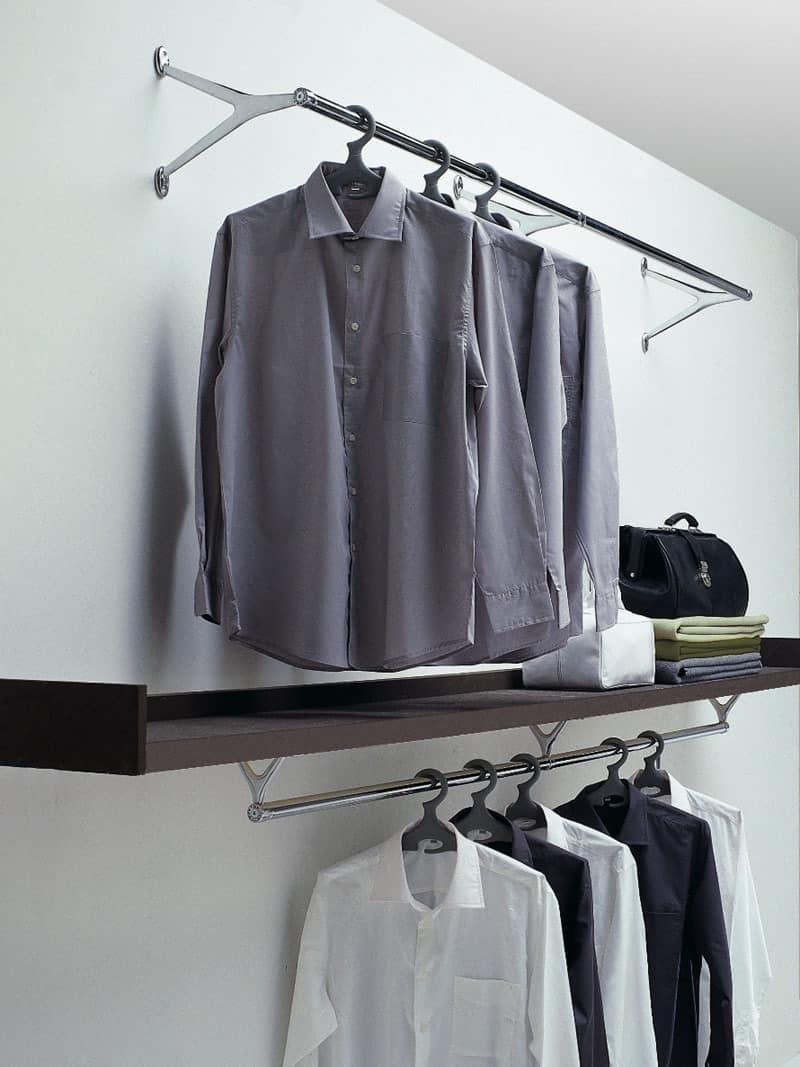 Ambrogio / Ambrogino, Kleiderhaken aus verchromtem Stahl und Aluminium poliert