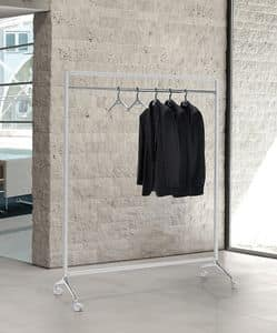 Archistand, Kleiderständer auf Rollen mit lackiertem Stahlrahmen
