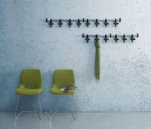 Hoow wall coat rail, Wandgarderobe Stahl und Polycarbonat