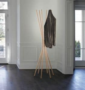 Mikado, Kleiderbügel aus Stahl, mit Veredelung aus Holz