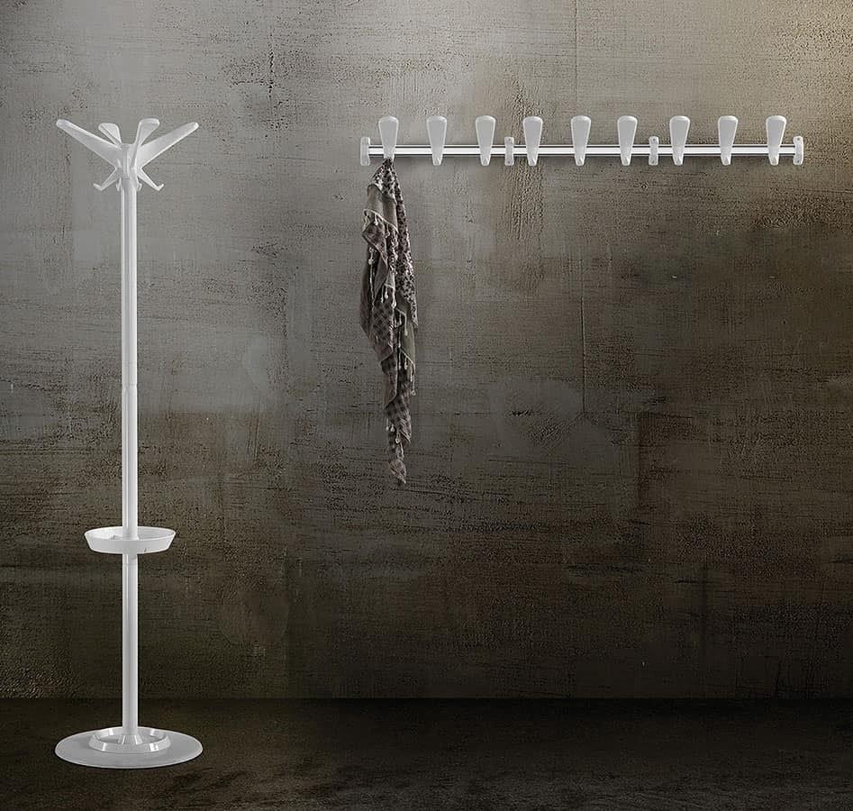 Swing wall coat rail, Modular Kleiderhaken aus Stahl und Polymer