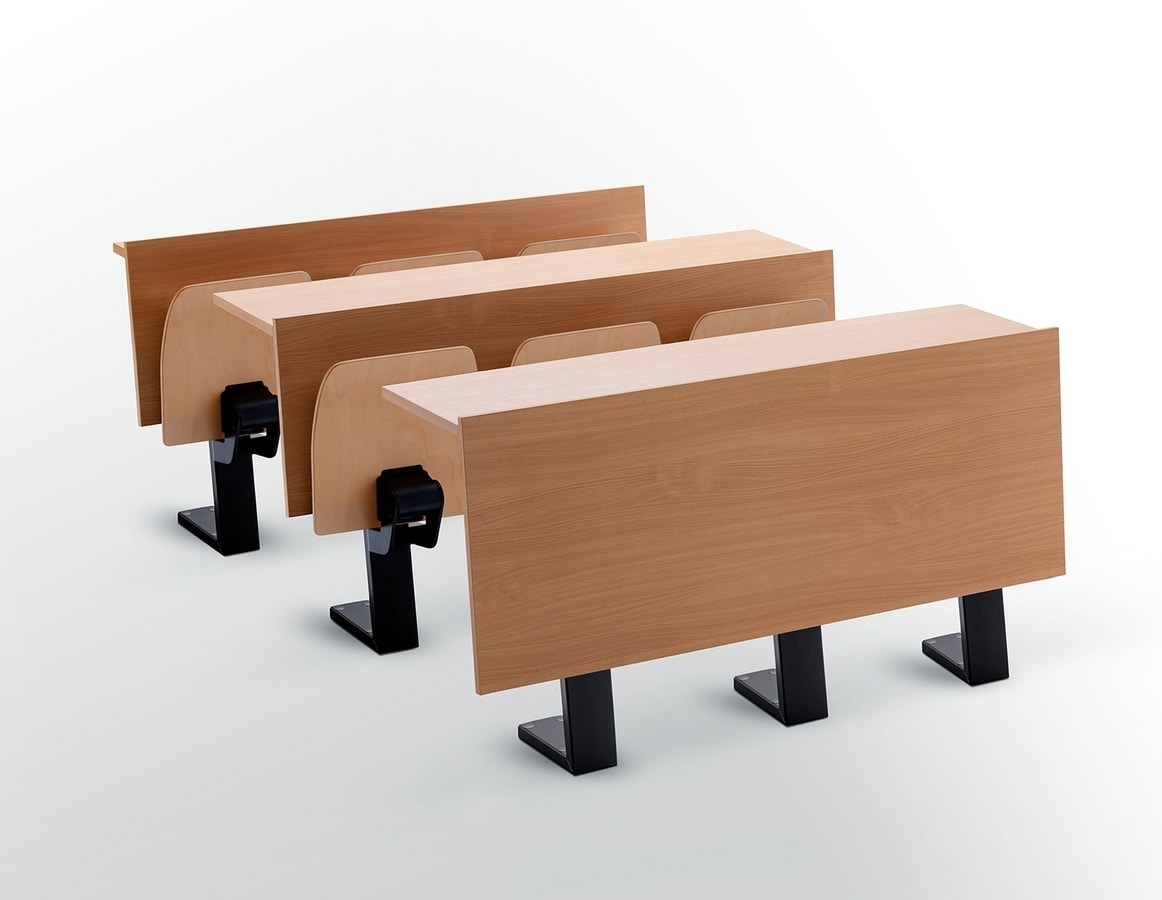 Ateneo desk central feet, Schreibtisch mit Sitzplätzen für das Auditorium