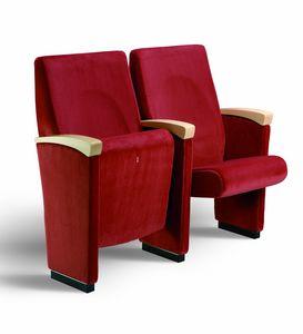 Gonzaga T, Conference gepolsterter Stuhl mit Armlehnen mit Holz verkleidet