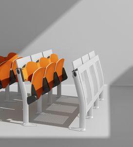 OMNIA, Mehrzwecksystem von Stühlen mit Schreibplatten, geringer Platzbedarf, für Konferenzräume und Hörsäle