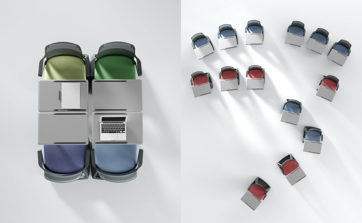 Rover EVO, Stuhl mit Klapptablette und Basissockelhalter