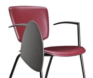 VEKTATOP 122 TDX, Stuhl aus Metall und Leder, mit Schreibplatte
