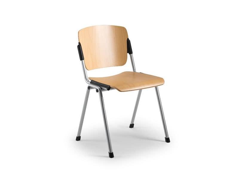 Cortina 6600LE, Stuhl mit Sitz und Rückenlehne aus Buchensperrholz
