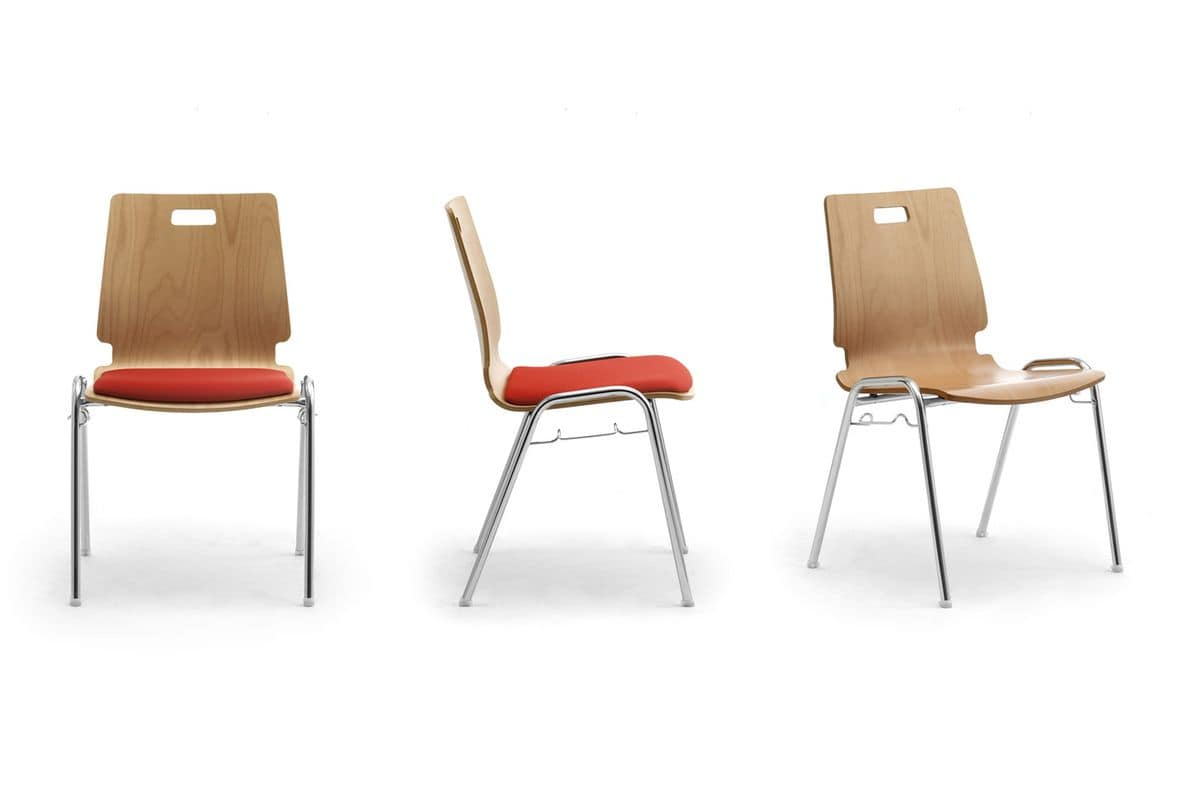 Cristallo 0662LE, Stuhl aus Holz und Metall für Warteräume und Büros