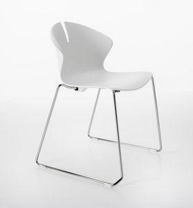 Red Hot auf Kufen, Stuhl mit Schlitten-Metall-Basis, Polypropylen-Monocoque
