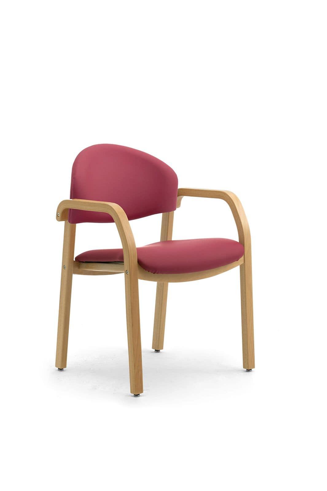 Soleil 68171, Gepolsterter Stuhl aus Holz für Warteräume, feuerfest