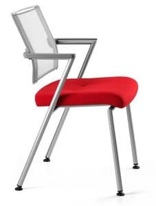 TITANIA 2868, Stuhl mit Metallgestell, zurück in elastischem Netz