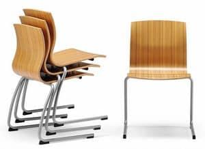 WEBWOOD 356, Stapelbarer Stuhl mit Sperrholzschale, auf Kufen