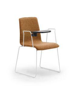 Zerosedici Kufen, Stuhl mit Schlittenbasis in Stange, mit Schreibtafel