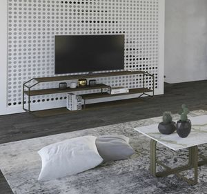 Consolle TV Yin, TV-Konsole in Eisen und Holz