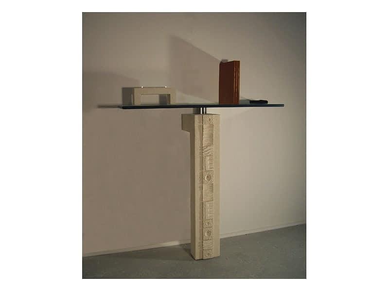 Etnica console, Möbel für Eingang mit Säule aus Stein