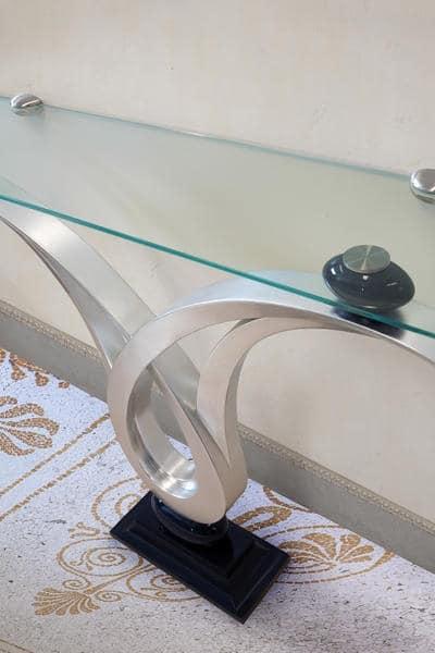 Zodiaco, Konsole mit Glasplatte, Struktur mit Blattsilber -Finish, zum Halleneingang Einrichtungs