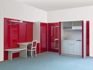 Cherry Sammlung, Zweizimmerwohnung Möbel, ausblendbar eingebaute Küchenzeile, Einrichtung für Wohn-Hotel Küche