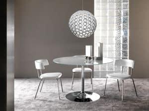 Art. 641/2 Armony, Runder Tisch mit freiem Oberseite und runder Metallunterseite