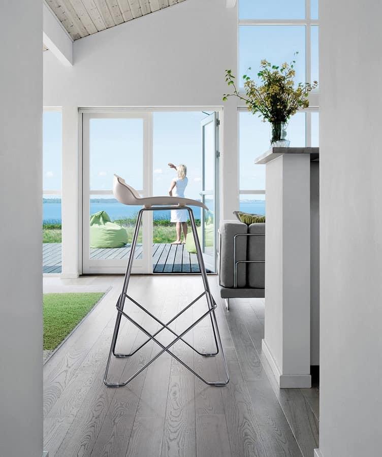 Kaleidos Hocker, Verchromtem Stahl Barhocker mit Kunststoffsitz