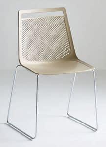 Akami S, Stuhl mit Rutsche Metallstruktur, Technopolymer Schale