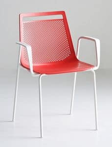 Akami TB, Stuhl mit Armlehnen, mit Beinen aus Metall und Kunststoff-Schale