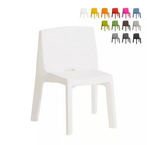 Designstuhl für Haus und Garten Slide Q4 SD Q40085, Stapelbarer Stuhl aus Kunststoff