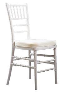 Eco-Chiavari, Stapelbare weiße Stühle für Zeremonien