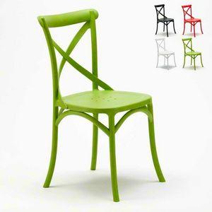 Polypropylen Küchenstühle VINTAGE Paesana Cross Design - SV681PP, Stuhl mit Kreuz zurück