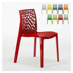 Außenliegender Stuhl aus Polypropylen Gruvyer – S6316, Moderner Stuhl aus glänzendem Polypropylen, stapelbar