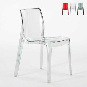 Haus transparent Barstuhl Femme Fatale - S6317TR, Feuerfester Stuhl, hochwertiger Kunststoff, stapelbar