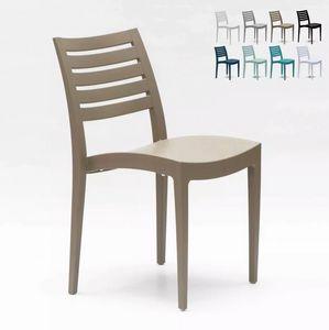 Stapelbar Esstischstuhl Esszimmerstuhl Polypropylen Gartenstuhl Außen Grand Soleil Firenze S6227, Plastikstuhl für den Außenbereich