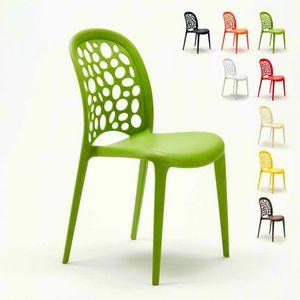 Stapelbare Garten Bar Küchenstühle Design HOCHZEITSLÖCHER MESSINA - SW609PP, Farbiger Stuhl aus Polypropylen für den Garten