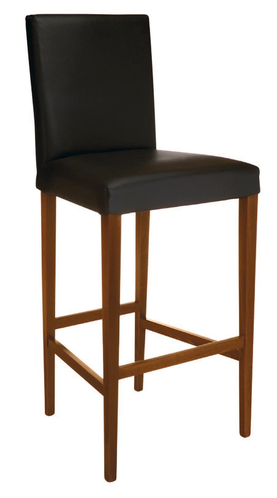 SG 1012, Hocker aus Holz mit gepolstertem Sitz und Rücken