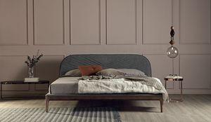 MICHELANGELO, Bett mit Massivholzrahmen gepolstert in Leder