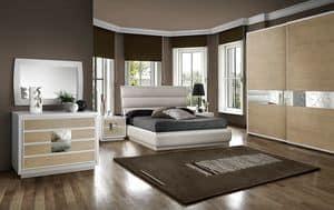 ST 705 C, Modernes Bett mit Container und gepolstertem Kopfteil