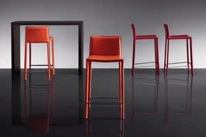 ART. 236/A SUNRISE STOOL, Moderne Stühle, mit Leder bezogen, für Bar und Pub