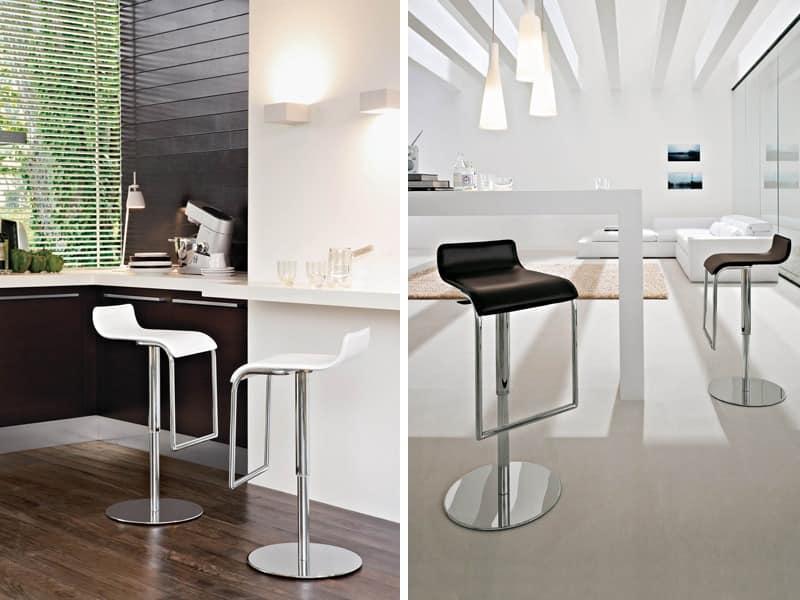 MILANO, Hocker für Küche mit höhenverstellbar, mit Leder bezogen