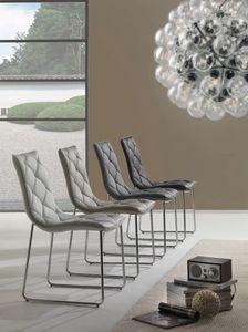Art. 296 Giada, Stuhl mit Cantilever-Sockel, in Kunstleder gepolstert