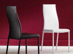 Grace, Bequemer gepolsterter Stuhl mit gebogener Rückenlehne