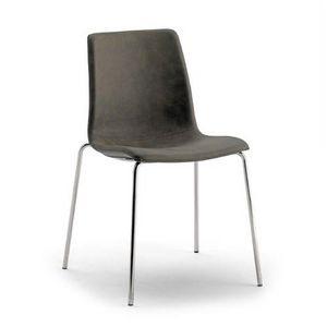 Scacco, Stapelbarer Stuhl, mit Öko-Leder bezogen