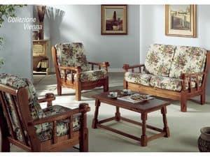 Collection Vienna, Gepolsterter Sessel mit Holzrahmen, im rustikalen Stil