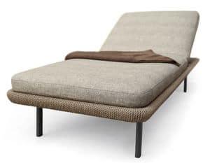 Babylon Day-Bett, Gepolsterte Bett für draußen, in Aluminium und synthetischen Faser