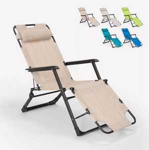 Klappstrand- und Gartenliegestuhl mit Mehreren Positionen Zero Gravity Emily Lux EM6012TEX, Liegestuhl am Strand